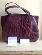 NWT! Nancy Gonzalez Purple Embossed Crocodile & Pony Hair Handbag $3400