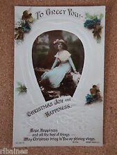 R&L Postcard: Christmas Joy Greetings, Horseshoe, Roses, Glamour Lady, Rotary