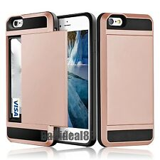 Cards Pocket Wallet ShockProof Hybrid Armor Case Cover For iPhone Samsung Galaxy