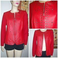 Peter Nygard Red Leather with Knit Back and Sleeves Studded Hot Women's Jacket M