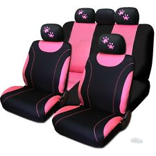 New Front & Rear Black & Pink Polyester Seat Covers Pink Paws Set For Nissan