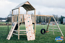PRICE REDUCED QUALITY CLIMBING FRAME 6ft BASE RSP £995 Monkey Bar 3 swings slide