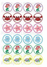24 icing cake toppers decorations  cute cartoon little mermaid under the sea