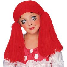 Girls Red Rag Doll Wig Long Yarn Hair Ragdoll Pigtails Costume Child Kids NEW
