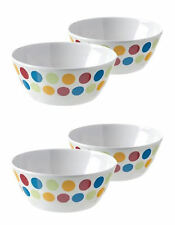 """Melamine (plastic) POLKA 5.5"""" small bowls x 4, picnic,cereal, fruit, party, boat"""