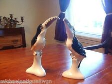 Pair of Rare Tuscan China Porcelain Life Size Tucan Parrot Figurines