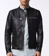 •SPRING CLEARANCE• $798 NWT SS'17 DIESEL L-GRENFELL Black Leather Jacket Men's L