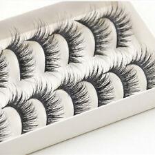 10 Pairs Handmade Long Natural Makeup Black Thick Fake False Eyelashes Beauty L7