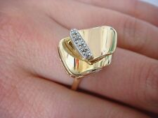 !BEAUTIFUL 14K YELLOW GOLD AND GENUINE DIAMONDS FREE STYLE VINTAGE LADIES RING