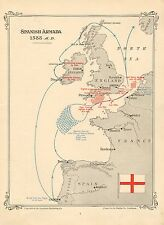 MAP/BATTLE PLAN ~ SPANISH ARMADA 1558 ~ DATES & POSITIONS LORD HENRY SEYMOUR