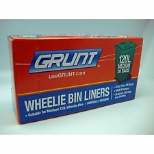 Grunt WHEELIE BIN LINERS 120L, 20Pcs, Easy Tear Off Bags BLACK *Aust Brand