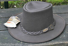 Outlaender Chapeau De Cowboy Australien Trapper Cuir Pays Occidental A real cuir