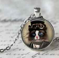 Charm Vintage cat Cabochon Tibetan Silver Glass Chain Pendant Necklace #B90
