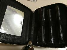 GIVENCHY 4pc brush set in black zip pouch:powder/cheek, eyeshadow, lip/liner NEW