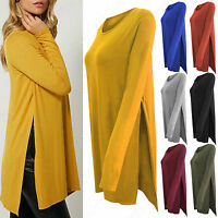 NEW WOMENS HIGH SLIT SIDE LONG SLEEVE TOP LADIES STRETCH JERSEY SPLIT TUNIC LOOK
