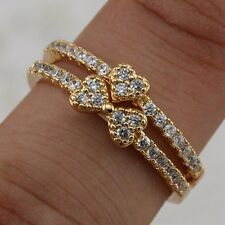 2in1 Size 8 Great Nice White CZ Jewelry Yellow Gold Filled Ring Sets R2530-248