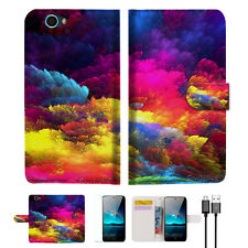 Colorful Cloud Wallet Case Cover For Telstra 4GX HD-- A021