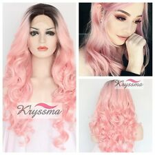 Ombre Long Wavy Synthetic Hair Lace Front Wig Ombre Pink Full Wigs Heat Safe 24""