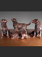 Set Of 4 Golden Retriever Dogs  Beautiful Bronze Statue / Sculpture Brand New