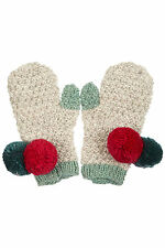 Topshop by People Tree Grey Pom Pom Mittens Gloves Fair Trade - One Size BNWT