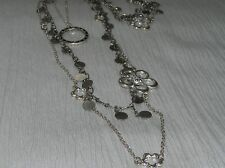 Estate Lot of 3 Long Open Silvertone Chain with Flat Disk Charms Open Flowers &