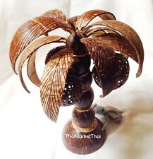 Coconut Shell Desk Wood Lamp Table Lantern Shade Palm Tree Garden Xmas Decor