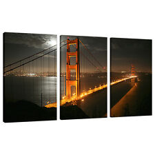 Trois photos toile Art mur de SAN FRANCISCO GOLDEN GATE ponts 3038