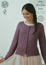 KNITTING PATTERN Ladies Long Raglan Sleeve Lacy Cardigan DK King Cole 4366