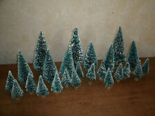 "Lot of 24 Bottle Brush Trees Green Frosted  - 2"" - 4.5"" Holiday Miniatures"