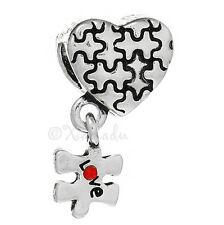 Heart Puzzle Charm Bead For European Charm Bracelets - Autism Awareness Charm