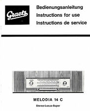 Bedienungsanleitung Notice d ´emploi Handbook Graetz Melodia 14 c  B213