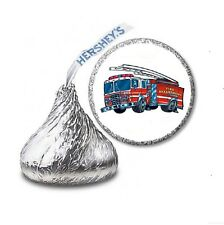 216 FIRE TRUCK ENGINE HERSHEY'S KISS CANDY BIRTHDAY STICKER LABELS  Party Favors