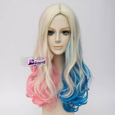 Blond Mixed Blue Pink Curly Long Wig for Harley Quinn Anime Cosplay Wig + Cap