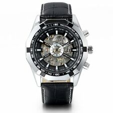 New Men's Boy Skeleton Auto Mechanical Watch Black Leather Band Wrist Watches