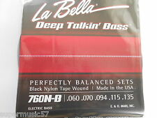 La Bella 760N-B Black Nylon Tape Wound 5 String Bass Guitar Strings  .60 - .135