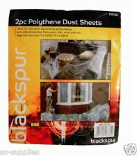 2 LARGE POLYTHENE PLASTIC DIY DUST SHEET COVER 3.6M X 2.7M DECORATING PAINTING