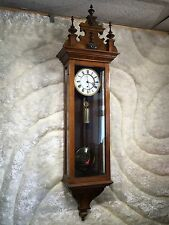 LARGE VTG ANTIQUE  GERMANY WALL CLOCK WEIGHT LARGE PENDULUM EXCELLENT WORKING