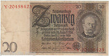 1929 GERMANY DEUTSCHES REICH 20 REICHMARK {Y.20458423} ~ Circulated // VF