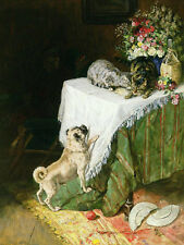 Large Oil painting lovely animals Dogs and cats playing hide and seek & flowers