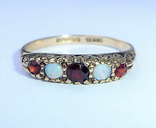 Vintage 9ct Gold Opal & Garnet Five Stone Half Eternity Ring, Size P