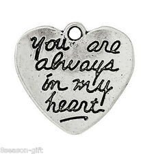 "50PCs Charm Pendants Heart Message"" you are always in my heart"" Carved"