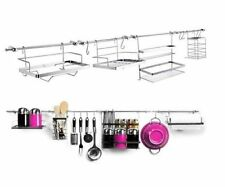 Big 14 pc Kitchen Wall Mountain Utensil Hanging Storage Set Rail Rack Chrome