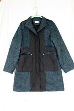 SOFT SURROUNDINGS Coat SMALL Teal Black Tweed Quilted Pockets Lined Mandarin