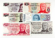 6 different Argentina paper money 1970's-80's Au-Unc.