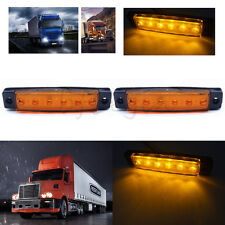 2X 6 LED Side Marker Indicator Amber Lights 12v ForTail Light Truck Boat Trailer