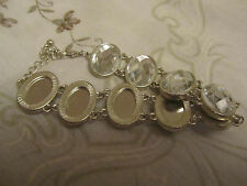 "Silver Tone & Clear Plastic Faceted Ovals Bracelet - 7.5-9.5"" long"