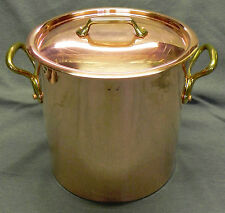 "Mauviel 11.7-qt Stock Pot + Lid, Hammered Copper, Bronze Handles, 9.5"" France Ex"