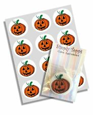 12 Halloween Pumpkin Cupcake Decoration Edible Cake Toppers Pre Cut 40mm