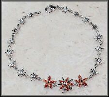 """1CT Padparadscha Sapphire 925 Solid Sterling Silver Tennis Bracelet 6.5"""" Long"""