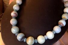 """Amazonite Jade Beads Faceted Silver Artisan Blue Beaded 36"""" Necklace NEW"""